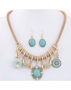 Blue Turquoise Assorted Pendants Bohemian Fashion Necklace and Earrings Set