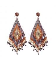 Mini Beads Combined Image Design Tassel High Fashion Women Statement Earrings