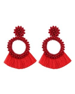 Weaving Beads Hoop with Cotton Threads Tassel Design Fashion Earrings - Red