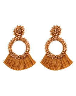 Weaving Beads Hoop with Cotton Threads Tassel Design Fashion Earrings - Brown
