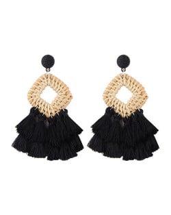 Bamboo Weaving with Cotton Threads Tassel Bohemian Fashion Earrings - Black