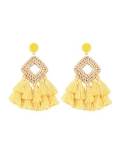 Bamboo Weaving with Cotton Threads Tassel Bohemian Fashion Earrings - Yellow