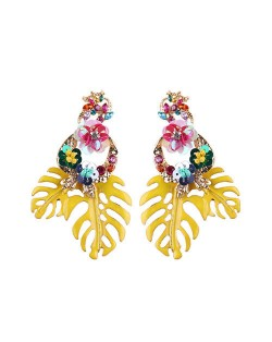 Delicate Flowers Decorated Leaves Fashion Women Statement Earrings - Yellow