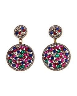 Shining Rhinestone Embellished Dangling Rounds Design Vintage Fashion Earrings - Rose