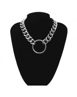 Alloy Ring Pendant Bold Chunky Chain High Fashion Costume Necklace - Silver
