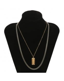 Alloy Bar Pendant Concise Fashion Dual Layers Chain Fashion Costume Necklace