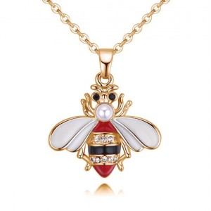 Oil-spot Glazed Cute Bee Design High Fashion Statement Necklace - Red