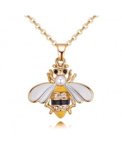 Oil-spot Glazed Cute Bee Design High Fashion Statement Necklace - Yellow