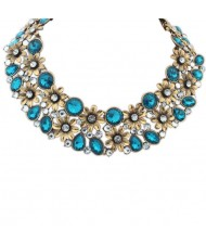 Gem and Rhinestone Decorated Flowers Cluster Design Short Vintage Fashion Necklace - Blue