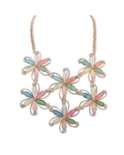 Acrylic Gem Colorful Flowers Vintage Fashion Women Costume Necklace