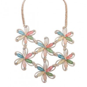 Acrylic Gem Colorful Flowers Vintage Fashion Women Costume Necklace