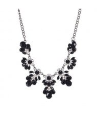 Resin Gems and Rhinestone Summer Style Flowers High Fashion Costume Statement Necklace - Black