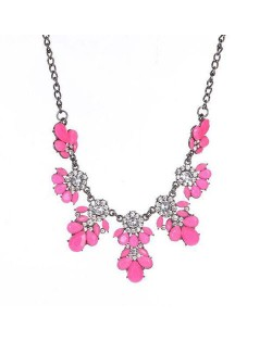 Resin Gems and Rhinestone Summer Style Flowers High Fashion Costume Statement Necklace - Rose