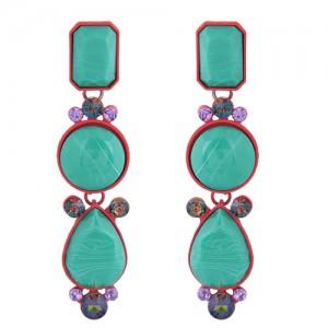 Geometric Design Drop Bohemian Style Women Fashion Earrings - Green