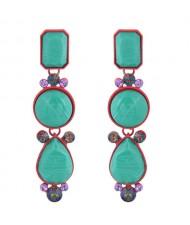 Beads Dangling Waterdrop Design Bohemian Style Women Fashion Earrings - Teal