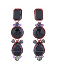 Geometric Design Drop Bohemian Style Women Fashion Earrings - Black