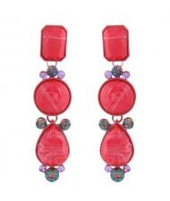 Geometric Design Drop Bohemian Style Women Fashion Earrings - Red