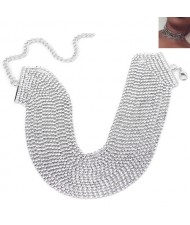 Rhinestone Multi-layer Chunky Fashion Choker Necklace - Silver
