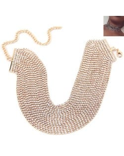 Rhinestone Multi-layer Chunky Fashion Choker Necklace - Golden
