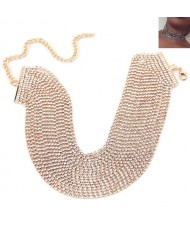 Rhinestone Multi-layer Chunky Fashion Choker Necklace - Golden