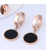 Black Round Pendants High Fashion Stainless Steel Ear Clips