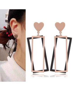 Heart with Dual Oblongs Design Dangling Fashion Stainless Steel Earrings