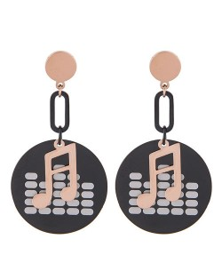 Musical Notes Pendants Design High Fashion Stainless Steel Earrings