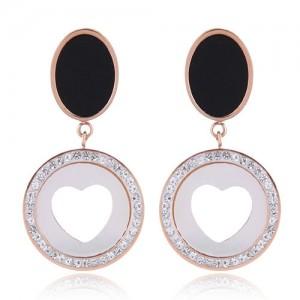 Czech Rhinestone Embellished Peach Heart Fashion Stainless Steel Earrings - White