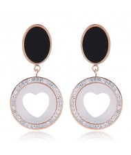 Czech Rhinestone Embellished Peach Heart Fashion Stainless Steel Earrings - White