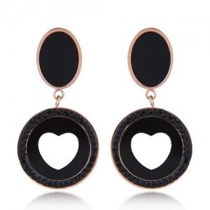 Czech Rhinestone Embellished Peach Heart Fashion Stainless Steel Earrings - Black