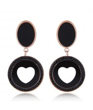 Czech Rhinestone Embellished Peach Heart Fashion Stainless Steel Earrings - Black