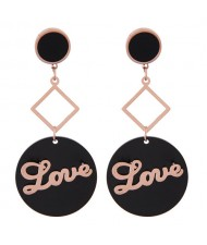 Love Fashion Round Pendant Design Stainless Steel Earrings