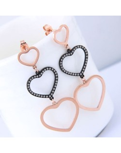 Triple Dangling Hearts Design Women Stainless Steel Earrings