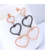Triple Dangling Hearts Design Women Stainless Steel Earrings