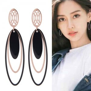 Multiple Oval Shape Dangling Design Korean Fashion Stainless Steel Earrings