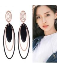 Multiple Oval Shape Dangling Design Korean Fashion Stainless Steel Earrings