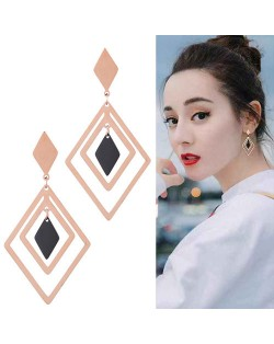 Rhombus Shape Design High Fashion Stainless Steel Earrings