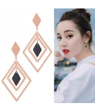 Rhombus Shape Design High Fashion Stainless Steel Earrings