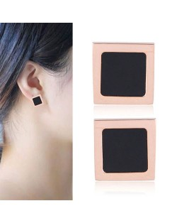 Concise Square Black Fashion Stainless Steel Earrings