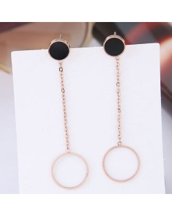 Dangling Ring Design Concise Fashion Women Stainless Steel Earrings