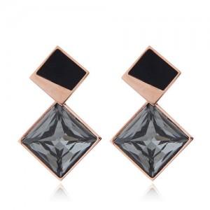 Cubic Zirconia Embellished Stereoscopic Design Women Stainless Steel Earrings - Black