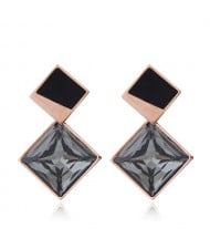 Cubic Zirconia Embellished Stereoscopic Design Women Stainless Steel Earrings - Black