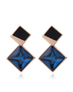 Cubic Zirconia Embellished Stereoscopic Design Women Stainless Steel Earrings - Ink Blue