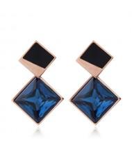 Cubic Zirconia Embellished Stereoscopic Design Women Stainless Steel Earrings - Ink Blue