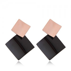 Black Square Combo Fashion Women Stainless Steel Earrings