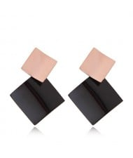 Black Square Combo Fashion Women Stainless Steel Earrings