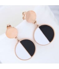 Black and White Contrast Color Design Round Pendant Women Stainless Steel Earrings