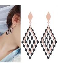 Hollow Rhombus Korean Fashion Women Stainless Steel Earrings