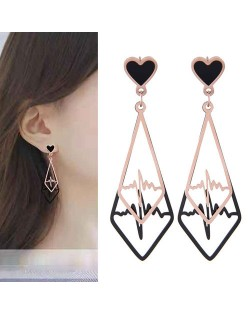 Heartbeat Dangling Waterdrop Design Korean Fashion Women Stainless Steel Earrings