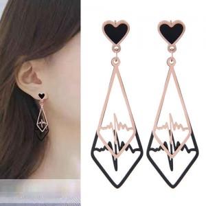 Heartbeat Dangling Waterdrop Design Korean Fashion Women Stainless Steel Earrings